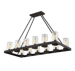 Rustic 12 Light Rectangular Outdoor Chandelier With Cylindrical Glass Shades In $528.75