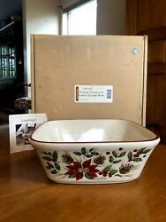 Longaberger 2005 Nature#x27;s Garland LARGE SQUARE BOWL Christmas for Stand Buffet $28.00