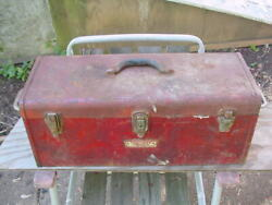 CRAFTSMAN COMMERCIAL 24quot; LONG RUSTY TOOL BOX WITH TRAY RESTORATION PROJECT ONLY