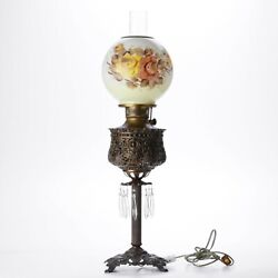 Vintage Ornate Brass Oil Table Lamp with Globe Converted Oil Lamp $195.10
