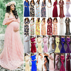 Pregnant Women Maternity Party Gown Lace Maxi Dress Photo Shoot Prop Photography $19.18