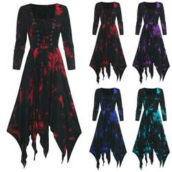 Women Retro Gothic Floral Long Sleeve Witch Dress Party Cosplay Fancy Dresses $19.75