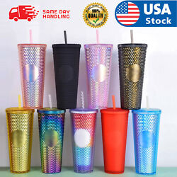 24oz Diamond Durian Double Wall Tumbler Pool Beach Cup with Straw Coffee Cold US $22.98