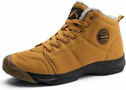 Mens Winter Trekking Snow Boots Water Resistant Shoes Anti Slip Fully Fur 8 $64.00