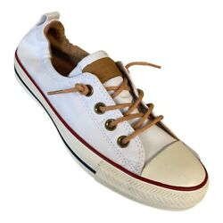 Converse All Star Womens Shoreline Sneakers Shoes White Leather Laces 8 M New $38.99