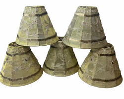 """SET of 5 MINI CHANDELIER SHADES Gold Sequin Floral Stitching CLIP ON STYLE 4"""" $44.99"""