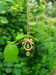 Victorian Antique old Gold pendant Chain necklace peridot green jewel carat bow GBP 249.00