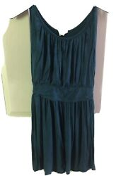 womens summer dresses size medium One Clothing Deep Green Scoop Neck Rouched $12.00