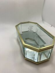 Vintage Clear Etched Flower Glass and Brass Jewelry Box Small $15.99