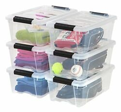 Stackable Pull Storage Plastic Bin Container w Lid Set 12 Quart 6 Box Clothing $54.44