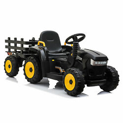 12V Kids Ride On Car Electric Tractor Battery Powered Toy w Trailer LED Lights $113.99