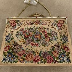 Vintage Victorian Antique Needlepoint Evening Bag Floral Tapestry Purse Chain $88.00