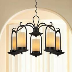 Espresso Indoor Outdoor Chandelier 30quot; 5 Light Onyx Faux Stone Glass for House $399.99