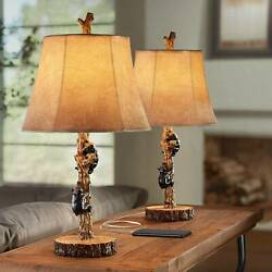 Rustic Accent Table Lamps Set of 2 with USB Black Gray Wood Faux Leather Bedroom $99.99