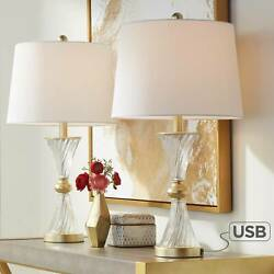 Traditional Table Lamps Set of 2 with USB Charging Port Gold Living Room Bedroom $89.95