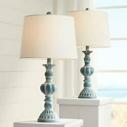 Traditional Table Lamps Set of 2 with WiFi Smart Sockets Blue Wash Living Room $104.98