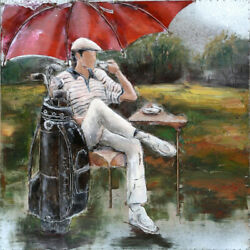 Golfer 3D Oil Painting Wall Decor Metal And Wood Canvas Home Office Decoration $199.00