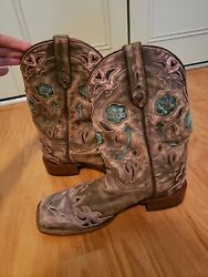 Dan Post Vintage Style Arrow Western Cowboy Boots Turquoise Pink Brown Size 9.5 $170.00