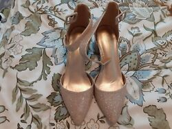 Gold womens dress shoes size 7.5 block 2 in heel strap closure used $8.00