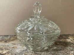 Vintage Crystal Clear Cut Glass Candy Dish With Lid $34.50