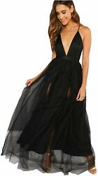 Floerns Women#x27;s Plunging Neck Spaghetti Strap Maxi Cocktail Black Size Small $16.83