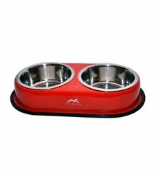 Pet Bowls Stainless Steel Dog and Cat Dinner Set Red $14.99