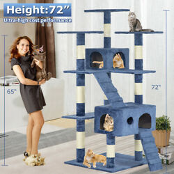Cat Condo Indoor Big Tower Pet Tree Scratcher Large Tall Post Play House 72quot; $98.01