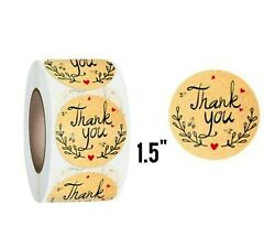 100 Pcs Thank You Stickers 1.5quot; Labels Brown Craft Paper Shipping $2.85