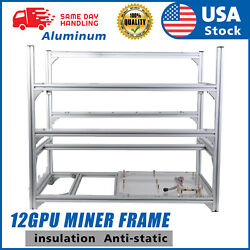 US 12GPU Mining Rig Frame Only Equipment Aluminum Stackable For Bitcoin Ethereum $139.98
