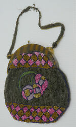 OLD GLASS BEADED PURSE EVENING BAG w FLOWERS GEOMETRIC DESIGN CELLULOID CLASP $34.99