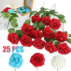 Artificial Rose Bouquet Silk Fake Flowers Head Wedding Party Home Decor With Box $13.48