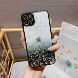 Shockproof Black Bumper Bling Glitte Clear Case Cute Cover for iPhone 12 Pro Max $6.99