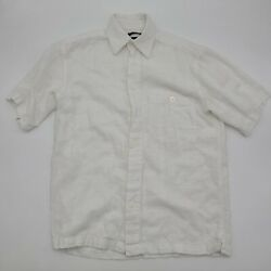 Marc Edwards Men#x27;s Shirt Button Front Short Sleeve Casual White Size Small $11.45