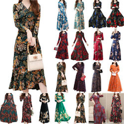 Women&Lady Long Sleeve Floral Midi Maxi Dress Party Cocktail Evening Swing Dress $16.90