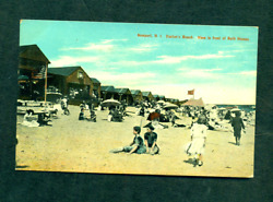 NEWPORT RHODE ISLAND EASTONS BEACH VIEW IN FRONT OF BATH HOUSES POSTED 1911 OLD $7.50