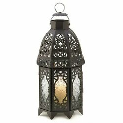 Lacy Cutout Black Metal Candle Lantern 12 inches $31.75