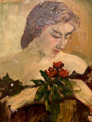 """Antique Oil Painting Woman With Flowers Artist Unkown 12""""x16"""" $75.00"""