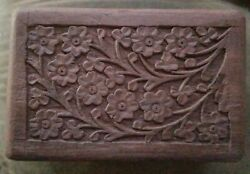 Vintage Wooden Box Jewelry Trinket Hand Carved Wood India $15.00