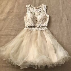 quinceanera dress Sz XS Nude Lace Short Party Homecoming Party Formal Sleeveless $49.00