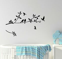 Vinyl Wall Decal Tree Branch Leaves Birds Nature Bedroom Stickers Mural g5756 $21.99