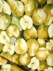 Timeless Treasures Cotton Quilt Fabric Pears All Over FRUIT C5350 By the Half Yd $6.99