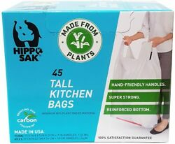 Plant Based Hippo Sak Tall Kitchen Bags with Handles 13 Gallon 45 Count $16.49