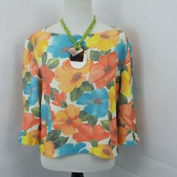 ST. JOHN Sport Floral Knit 3 4 Sleeve Cropped Top L $33.33