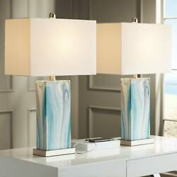 Coastal Table Lamps Set of 2 with USB Port LED Blue for Living Room Bedroom $139.99
