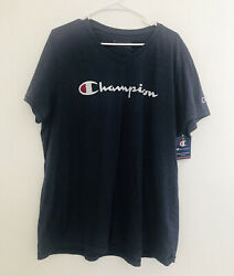 Champion Plus Size V Neck Graphic T Shirt IMPERIAL I Navy Size 2X NWT $24.99