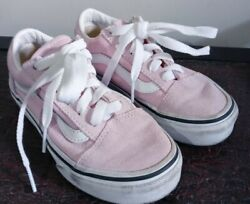 VANS Off the Wall Girls Sneakers Size 11.5 Canvas Chalk Pink Low Top Laced Shoes $17.99
