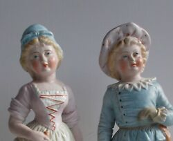German Bisque Porcelain Antique Figurines of a Boy and a Girl Statue a Pair $190.00