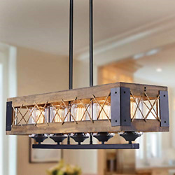 """Farmhouse Chandeliers for Dining Room 32"""" Rectangular Wood Chandelier with for $109.46"""