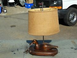 Wooden DUCK DECOY TABLE LAMP VINTAGE Shade Nice. $75.00