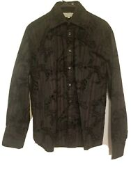 Eighty Eight Mens Dress Shirt Small Black textured paisley with stripes $7.99